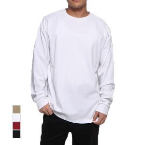 Tシャツ カットソー 長袖 クルーネック サイドジップ 無地 オーバーサイズ ビッグシルエット コットン トップス メンズ|styleblock