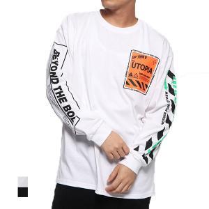 Tシャツ カットソー 長袖 クルーネック ロゴ プリント オーバーサイズ ビッグシルエット コットン トップス メンズ|styleblock