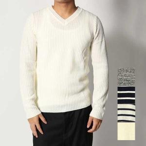 ニット セーター Vネック メンズ ボーダー リブ編み 杢柄 ミックス トップス|styleblock