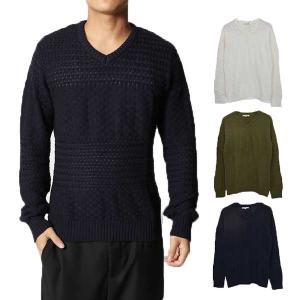 ニット Vネックニット セーター Vネック メンズ 切り替え 編み地切り替え トップス|styleblock