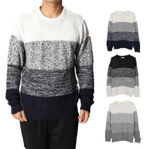 ニット セーター クルーネック メンズ グラデーション 切り替え 編み地切り替え トップス|styleblock