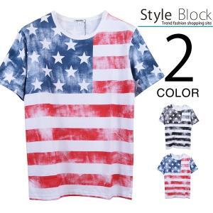 カットソー Tシャツ クルーネック アメカジ 半袖 星条旗 プリント ボーダー トップス レディース トップス|styleblock