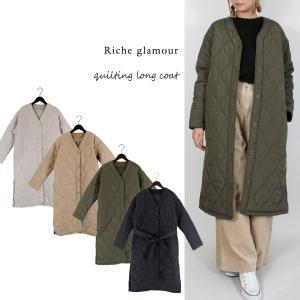 コート ノーカラーコート ロングコート キルティングコート 中綿 高密度タフタ 布ベルト アウター レディース|styleblock