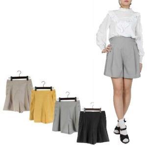 パンツ ショートパンツ ショート丈 サイドボタン ウエストゴム 台形 ボトムス レディース|styleblock