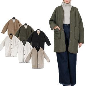 ジャケット コート キルティングジャケット リバーシブル 高密度タフタ ボア ノーカラー アウター レディース|styleblock