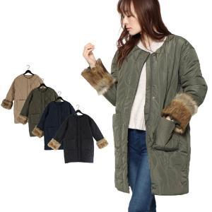 コート キルティングコート ノーカラー ファー ハーフコート 高密度タフタ シンプル アウター レディース|styleblock
