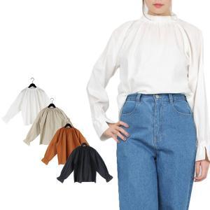 シャツ ブラウス ハイネック 長袖 キャンバス 綿 コットン100% ギャザー プルオーバー 無地 シンプル トップス レディース|styleblock