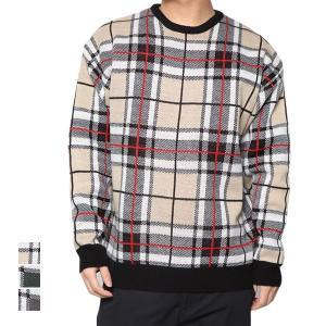 ニット セーター クルーネック 丸首 長袖 チェック ジャガード ビッグニット オーバーサイズ トップス メンズ|styleblock