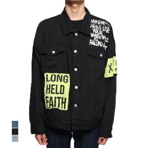 デニムジャケット Gジャン ジージャン ビッグシルエット オーバーサイズ 長袖 プリント アウター メンズ|styleblock