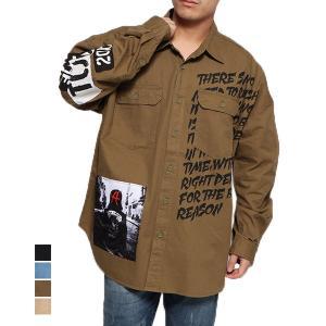 シャツ カジュアルシャツ 長袖 ロゴ フォトプリント デコレーション ミリタリーシャツ レギュラーカラー ビッグシルエット オーバーサイズ トップス メンズ|styleblock