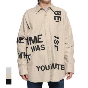 シャツ カジュアルシャツ 長袖 ロゴ オーバーシャツ ビッグシルエット オーバーサイズ コットン100% トップス メンズ|styleblock