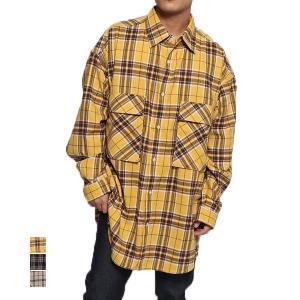 シャツ カジュアルシャツ 長袖 チェック柄 オーバーシャツ レギュラーカラー ビッグシルエット オーバーサイズ ビッグポケット トップス メンズ|styleblock
