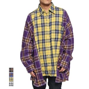 シャツ カジュアルシャツ 長袖 チェック柄 オーバーシャツ レギュラーカラー ビッグシルエット オーバーサイズ トップス メンズ|styleblock