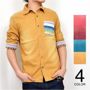 カジュアルシャツ デニムシャツ 半袖シャツ シャツ デニム トップス ビッグシルエット 五分 七分 七分袖 メンズ トップス|styleblock