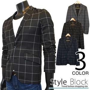 テーラードジャケット メンズ チェック ウィンドペン アウター カジュアルジャケット|styleblock
