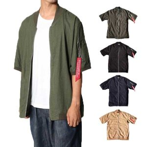 リネンジャケット アウター ジャケット MA-1 MA1 シャツジャケット 半袖 麻混 リブ トップス メンズ サマー|styleblock