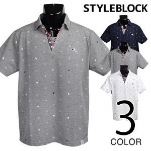 ポロシャツ Tシャツ スキッパーネック ワッペン プリント カノコ トップス メンズ|styleblock