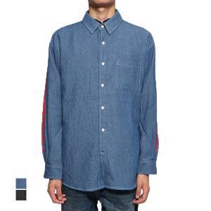 シャツ カジュアルシャツ デニムシャツ 長袖 ロゴ フォトプリント ルーズ フィット バックプリント コットン トップス メンズ|styleblock