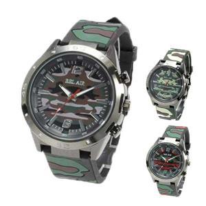 腕時計 カモフラージュ 迷彩 ラバーベルト ミディアムフェイス ユニセックス Bel Air Collection グリーン レッド サマー|styleblock