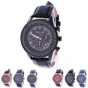 腕時計 ビッグフェイス メンズ レザーベルト ユニセックス 防水 カレンダー Bel Air Collection ゴールド ブルー ブラウン シルバー レッド|styleblock