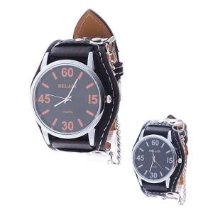 腕時計 ミディアムフェイス レザーベルト チェーン ユニセックス Bel Air Collection ブラック ホワイト レッド|styleblock