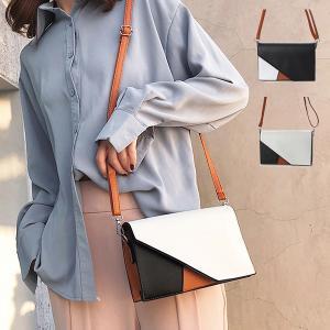 クラッチバッグ ショルダーバッグ 2way PUレザー バイカラー 小物 バッグ 鞄 レディース|styleblock