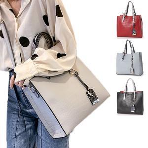 ショルダーバッグ ハンドバッグ 2WAY PUレザー 合皮 パイソン柄 チャーム付き 鞄 大容量 かばん バッグ 小物 レディース|styleblock