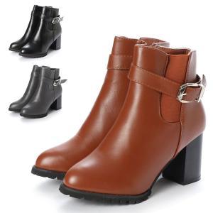 ブーツ サイドゴアブーツ ショートブーツ ベルト付き 合皮 PUレザー 太ヒール 8cmヒール サイドジップ 靴 シューズ レディース|styleblock