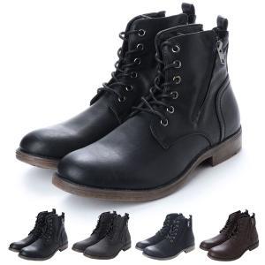 ブーツ ショートブーツ レースアップブーツ 編み上げ フェイクレザー PUレザー 靴 シューズ メンズ|styleblock