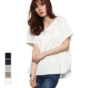 Tシャツ カットソー 半袖 Vネック ワッフル地 ゆるカットソー 綿 コットン100% トップス レディース|styleblock