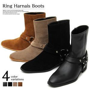 ブーツ ハーフブーツ リングブーツ ポインテッドトゥ ヒール リングハーネス 靴 シューズ メンズ|styleblock