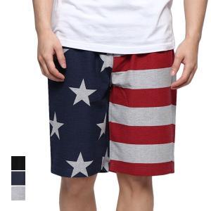 ハーフパンツ ショートパンツ ユニオンジャック 星条旗 ショーツ ショート丈 5分丈 ミニ裏毛 スウェット ボトムス メンズ styleblock