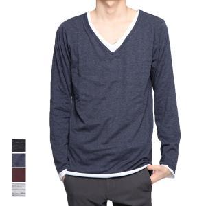 Tシャツ カットソー 長袖 Vネック 長袖 ロンT レイヤード 杢柄 スリム トップス メンズ|styleblock