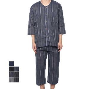 甚平 じんべい 上下セット セットアップ 男性用 シジラ織り 和装 和服 パジャマ ルームウェア メ...