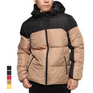 ジャケット ブルゾン 中綿ブルゾン 防風 ウィンドストップ 配色 切替 フード付き 無地 アウター メンズ|styleblock