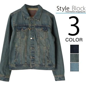 ジャケット デニムジャケット Gジャン ジージャン ウォッシュ加工 無地 メンズ|styleblock
