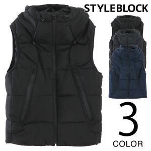 ベスト 中綿 ダウンベスト 止水ファスナー フード付き アウター メンズ トップス styleblock