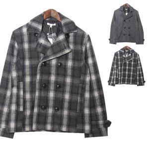 Pコート ジャケット メルトンウール チェック柄 ヘリンボーン オンブレチェック 防寒 アウター メンズ|styleblock