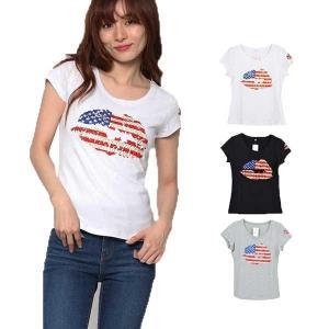 Tシャツ カットソー 半袖 クルーネック スリム 星条旗 ストーン アメカジ ストリート トップス レディース|styleblock