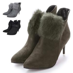 ブーツ ショートブーツ ファー ピンヒール ポインテッドトゥ ハイヒール 8cmヒール サイドジップ 靴 シューズ レディース|styleblock