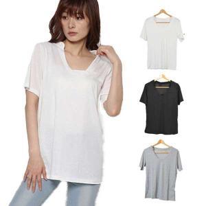 カットソー Tシャツ Vネック 衿付き 半袖 半袖Tシャツ シャツ レディース グレー 黒 秋