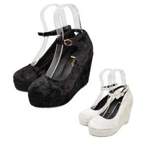 パンプス ウェッジソール 厚底 プラットフォーム アンクルストラップ ベロア生地 ハイヒール ラウンドトゥ 靴 シューズ レディース|styleblock