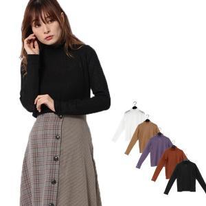 カットソー 模様編み 長袖 シースルー ハイネック フリル トップス レディース|styleblock