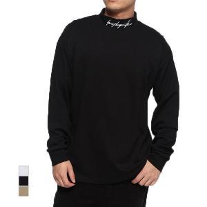 Tシャツ カットソー 長袖 ハイネック モックネック ロゴ 無地 オーバーサイズ ビッグシルエット ...