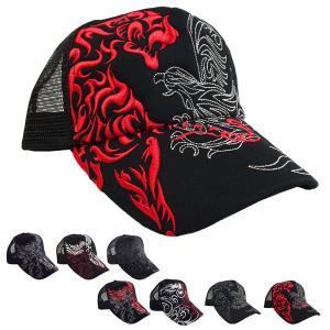 キャップ メッシュキャップ ベースボールキャップ 帽子 刺繍 和柄 トライバル ドラゴン 龍 フェニ...