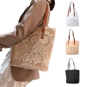 トートバッグ レースバッグ 巾着付き 花柄レース 鞄 大容量 かばん バッグ 小物 レディース
