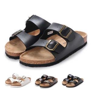 サンダル コンフォートサンダル ダブルベルト フラット 合皮 コルク シンプル シューズ 靴 メンズ...