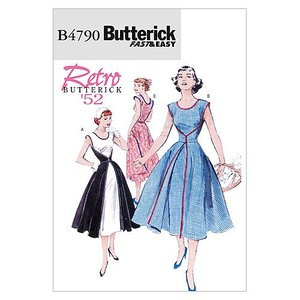 【Butterick】VeryEasy 50年代レトロデザインラップドレスの型紙セット サイズ:US8-10-12-14 *4790|stylecolorstore