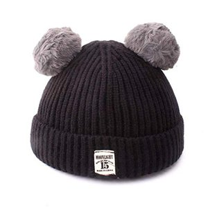 Kingsie ニット帽 赤ちゃん ベビー ニットキャップ ポンポン付き 無地 かわいい 秋冬 防寒 キッズ 女の子 男の子 (ブラック) stylecolorstore