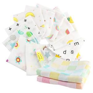 ガーゼハンカチ12枚 沐浴布2枚 heliltd 赤ちゃん用 ガーゼタオル 2層ガーゼ 柔らかい 通気性がいい コットン stylecolorstore
